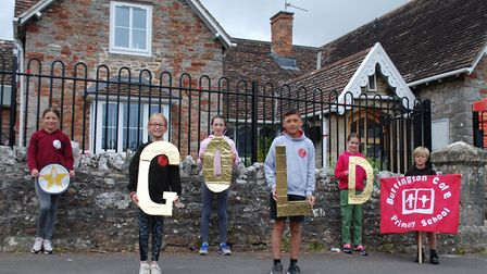 Burrington Primary School celebrate being awarded the gold level Space Education Quality Mark.