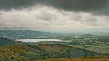 View of Cheddar reservoir from Wavering Down.