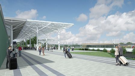 An artist's impression of the pedestrianised forecourt at Bristol Airport. Picture: Bristol Airport