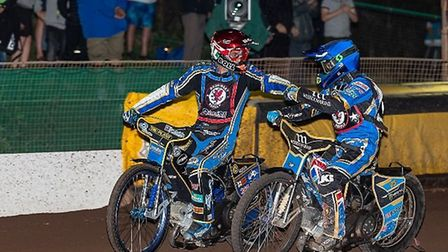 Somerset Rebels duo Jason Doyle Jack Holder celebrate a 5-1 in Heat 13 of the meeting with Poole Pir