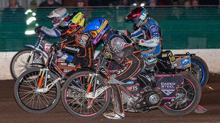 Somerset Rebels action from the meeting against Wolverhampton Wolves. Visiting pair Sam Masters and