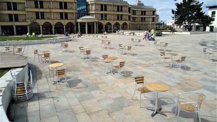 Social distanced seating in the Italian Gardens. Picture: Nick Page Hayman
