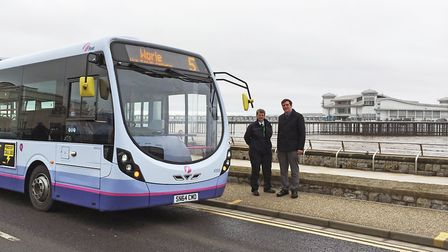 One of First West of England's buses outside Weston Grand Pier.