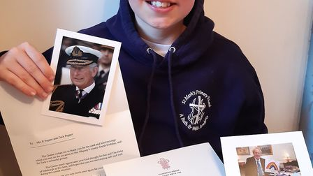 Zack Pepper received thank you letters from the Queen and Boris Johnson. Picture: Rebecca Pepper