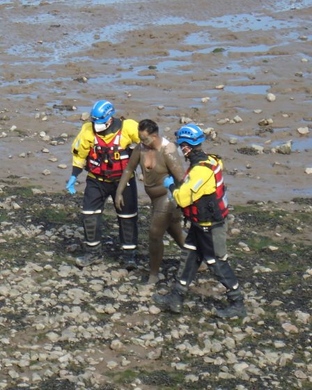 The coastguard helped the man to reach a safer part of the beach. Picture: Nick Page Hayman