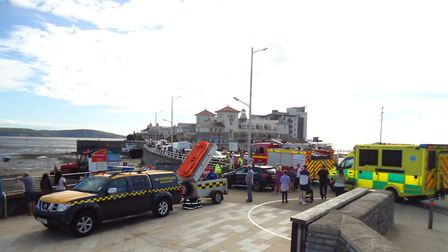 Weston Coastguard, the fire service and paramedics were called to the beach. Picture: Nick Page Haym