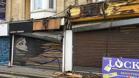 A vehicle has damaged two shops in Weston. Picture: Gavin Morris