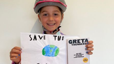 Audrey, 7, will cycle 100 miles to fight climate change. Picture: Wessex Learning Trust