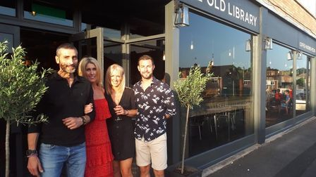 Lee Bavetta with wife Sara, Ashleigh and Jamie McAllister outside The Old Library. Picture: The Old