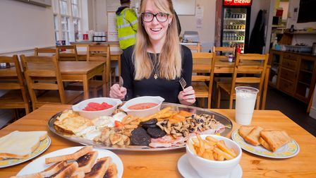 Harriet Crawford with the 8,000 calorie Monster Mega Challenge breakfast at The Corner Cafe, Portish