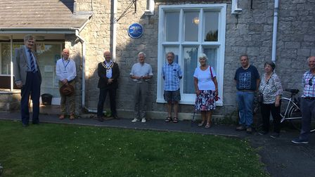 Representatives from Weston Town Council and the civic society at the unveiling of the blue plaque o