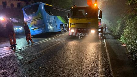 A burst water main has closed a road in both directions on the A38. Picture: North Somerset Trave