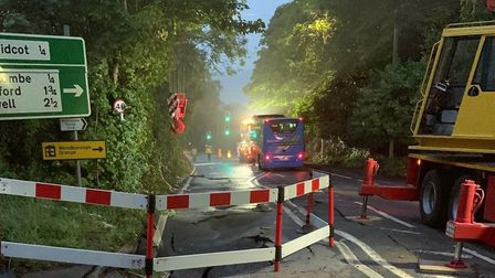 The A38 will remain closed until Friday to enable the road to be repaired.