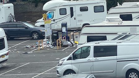 North Somerset Council had to close the car park to clear up the mess left by travellers.