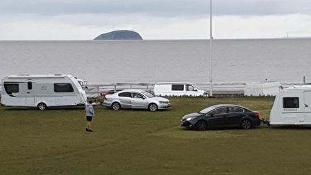 Travellers have moved onto the Beach Lawns again.
