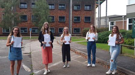 Students picking up their A-level results at Backwell School.