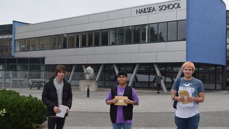 Students from Nailsea School picking up their A-level results.