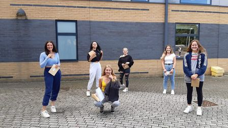 Nailsea School students picking up their exam results.