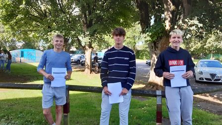 Pupils from Backwell School picking up their GCSE results.