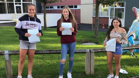 Kiana, Gracie and Bethan collecting their GCSE results on Thursday. Picture: Gordano School