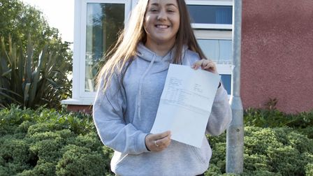 Lauren Speed collecting her GCSE results on Thursday. Picture: Gordano School
