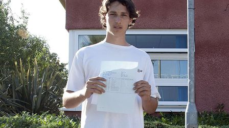 Reuban Berger collecting his GCSE results on Thursday. Picture: Gordano School