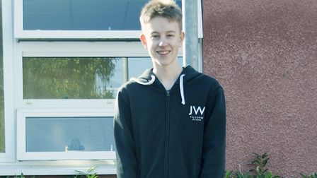 Jahn Wiland collecting his GCSE results on Thursday. Picture: Gordano School