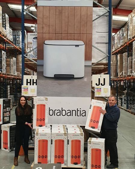 Staff from Brabantia donating bins to care homes and hospices.