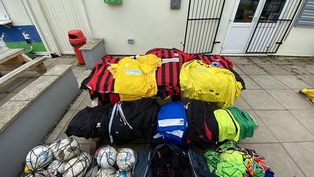 Football equpiment donated by Banwell FC to the Chernobyl Childrens Lifeline Charity