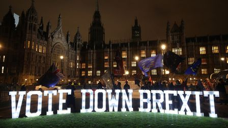 An anti-Brexit protest outside the Houses of Parliament. Photograph: Yui Mok/PA.