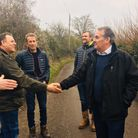 MP Liam Fox with Simon Bluck and the Ham Green campaign group in January.