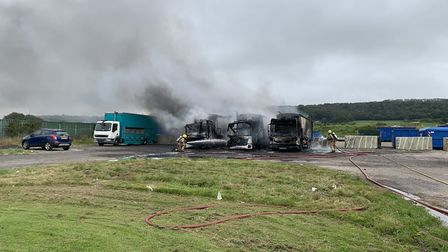 Three lorries were destroyed by the fire.