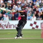 Babar Azam hits out for Somerset in the Vitality Blast (pic Gavin Ellis/TGS Photo)