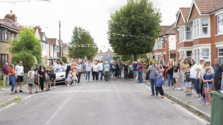 Neighbours enjoying the street party in Chesham Road North.