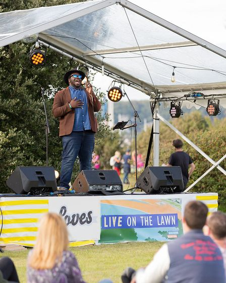 Marvin Muoneke on stage at Loves Live On The Lawn. Picture: Paul Blakemore