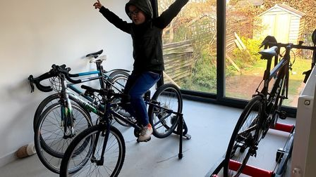A North Somerset AC youngster takes on a cycling challenge during lockdown