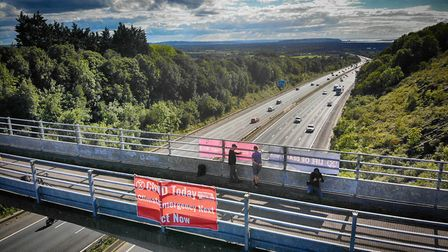 Banners were displayed on the M5. Picture: Extinction Rebellion Clevedon