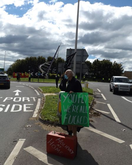 Protesters gathered to demonstrate against Bristol Airport's appeal plans. Picture: Nick Page Hayman