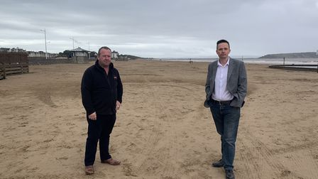 Gareth Hockey, director of RHL Activities, and North Somerset Council's deputy leader Mike Bell.