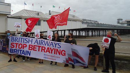 British Airways staff held a protest at the Grand Pier.Picture: Nick Page Hayman