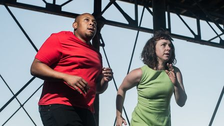 Dorian Simpson and Kim Heron performin in This Crossing. Picture: Paul Blakemore