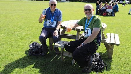 Walkers relaxing after The Mini Mendip challenge.