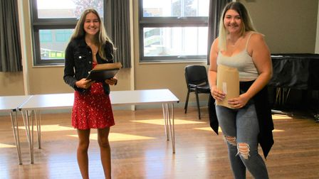 Students from Kings of Wessex Academy picking up their results.