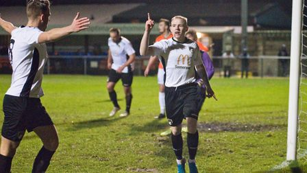 James Waite celebrates scoring one of his three goals for Weston in their 5-0 win over Wimborne Tow