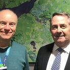 Dave Lees, left, and Liam Fox MP, right, both back calls for Covid-19 testing at Bristol Airport. Pi