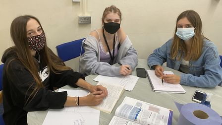 Sixth-formers Olive, Molly and Annabel.