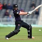Gloucestershire's Ian Cockbain hits out during the a T20 Blast match at the County Cricket Ground, B