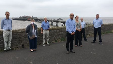 Representatives from North Somerset Council, the RNLI and Heritage England at Birnbeck Pier.