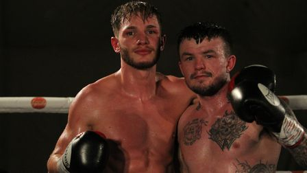 Dean Dodge with Sean Davis after picking up his ninth win from his last 10 fights. (Picture: Josh Th