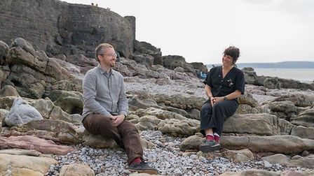 Artists Phil Owen and Sam Francis at Anchor Head. Picture: Paul Blakemore